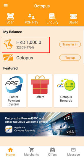 Person-to-Person Payment (P2P) - Octopus Hong Kong